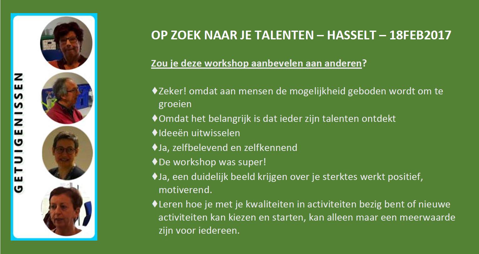 Evaluatie workshop OP ZOEK NAAR JE TALENTEN   Hasselt