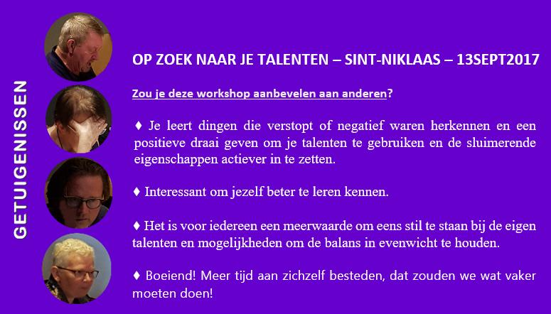 Evaluatie workshop OP ZOEK NAAR JE TALENTEN   Sint-Niklaas